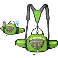 ハイキングウエストバッグとウォーターボトルホルダー男女兼用ハイキングウエストパック用ウォーキングランニング腰部パックフィットのための iPhone iPod サムスン電話