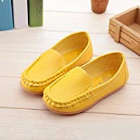 Children Shoes PU Leather Soft Comfortable Loafers Slip Kids Shoes, Size:34(White) Children Shoes (Color : Yellow)