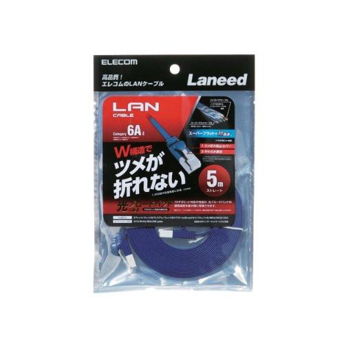 LANケーブル CAT6A 爪折れ防止 フラット/5m メタリックブルー LD-GFAT BM50 1個