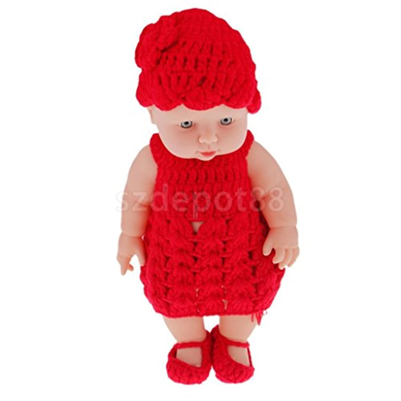 キュート赤いニットドレスビニールReborn人形Lifelike 11インチベビー人形ベビーおもちゃ