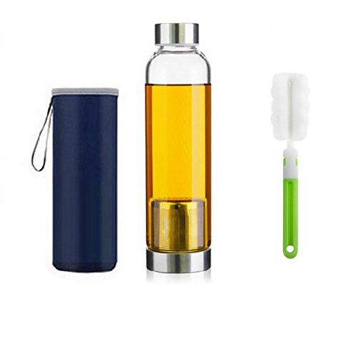 お茶の濃さをキープできる ティーボトル 茶こし 耐熱ガラス製 携帯用 水筒 魔法瓶 カバー付き マイボトル スポーツや遠足や弁当などの日に 550ML,無料のカップブラシを取得します (Blue)