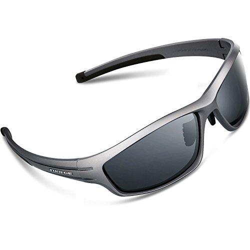 Torege 偏光レンズ スポーツサングラス 超軽量 TR90 UV400 紫外線カット スポーツサングラス/ 自転車/釣り/野球/テニス/スキー/ランニング/ゴルフ/ドライブ TRG034 (グレーフレーム& グレーレンズ)