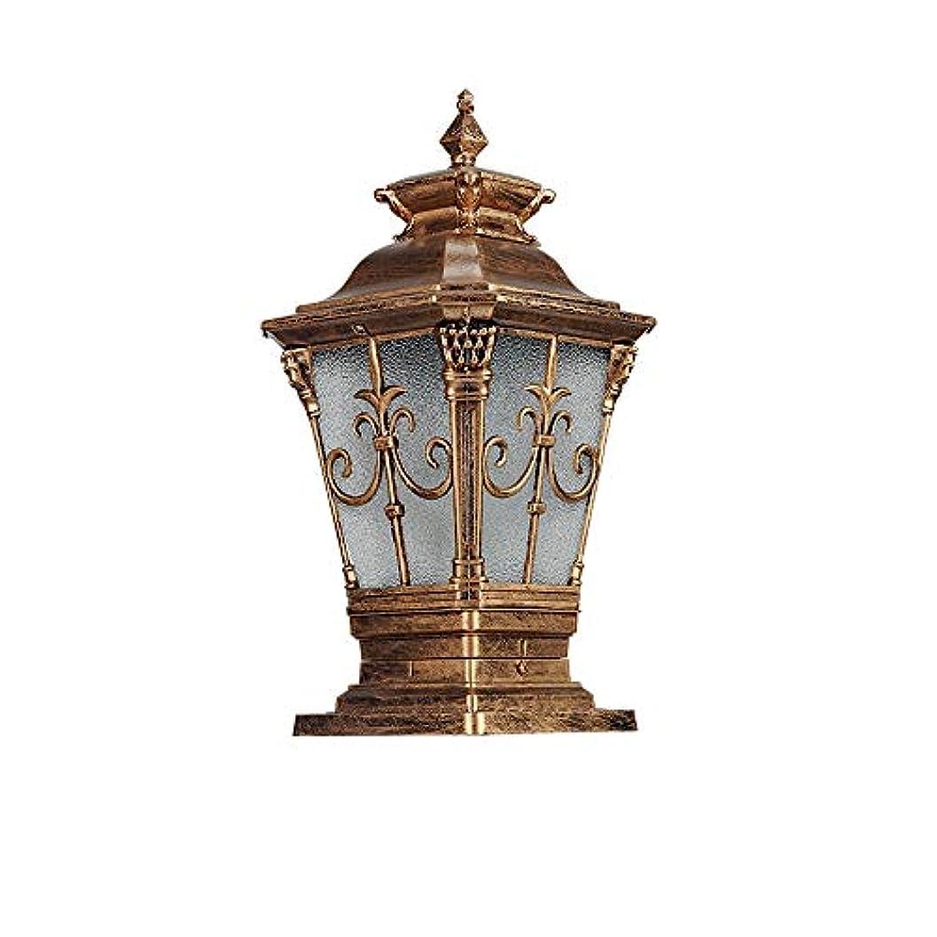 頂点質量なしでPinjeer アメリカのヴィンテージアンティークIP54防水ガラスポストライトE27防錆屋外ダイカストアルミコラムランプガーデンライトヴィラ街路ドア風景装飾ピラーライト (Color : Brass, サイズ : M)