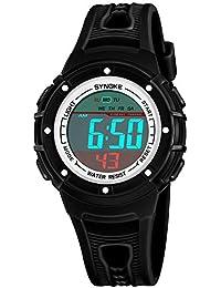 子供のための腕時計ストップウォッチの腕時計が付いている男の子の女の子のデジタルスポーツ50防水かれた腕時計 (ブラック)
