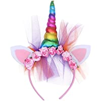 BESTOYARD Unicorn Horn Flower Headbands Unicorn Ear Hair Hoop Party Headdress Princess Photo Props Hairband (Rainbow)