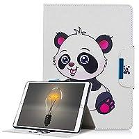 A-Beauty iPad 9.7 2018 / 2017 ケース、かわいい柄 高級 PUレザー開閉式 保護カバー スタンド機能スマートカバーオートスリープ財布型 手帳型 耐衝撃(パンダ)