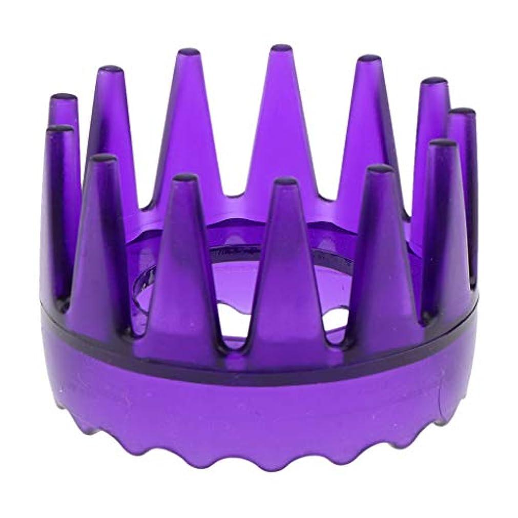 ひどい円形アクチュエータ頭皮マッサージブラシ ヘアブラシ ヘアコーム ヘアケア シャワー 洗髪櫛 滑り止め 全4色 - 紫