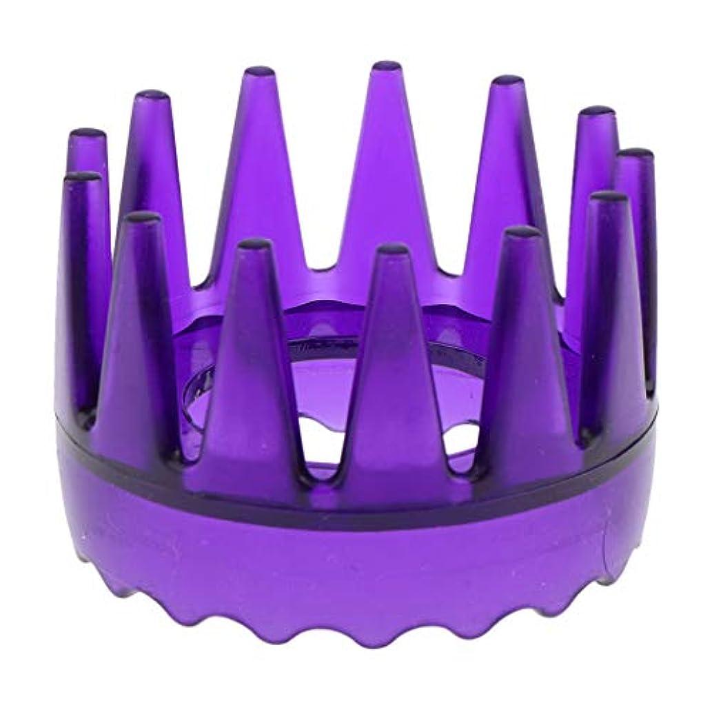 歌手遺体安置所干し草頭皮マッサージブラシ ヘアブラシ ヘアコーム ヘアケア シャワー 洗髪櫛 滑り止め 全4色 - 紫