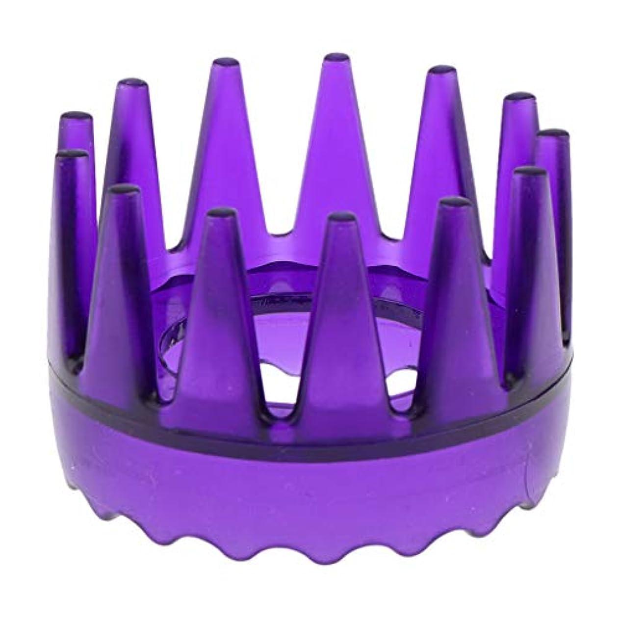 召喚する悲しみ地域の頭皮マッサージブラシ ヘアブラシ ヘアコーム ヘアケア シャワー 洗髪櫛 滑り止め 全4色 - 紫
