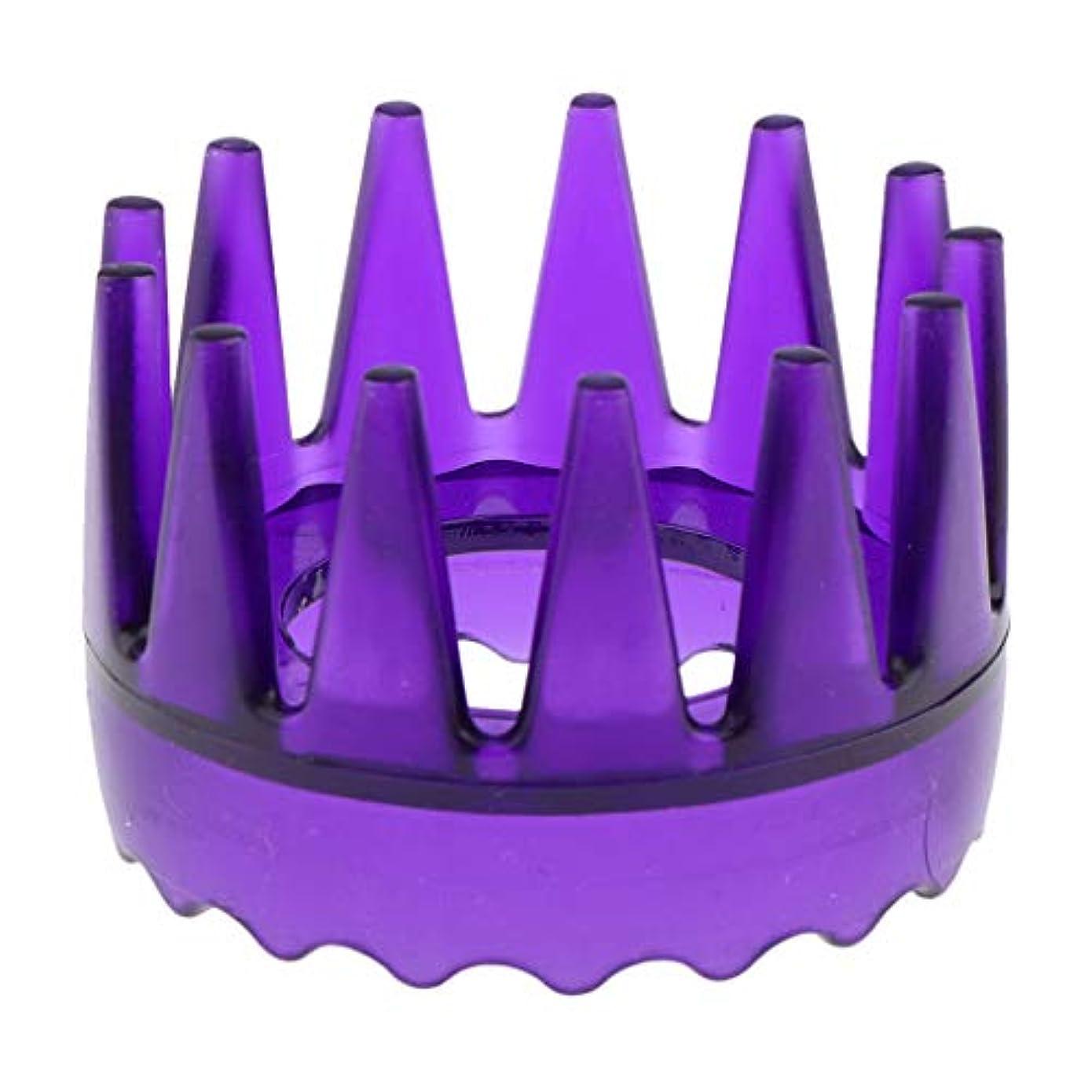 自動車従事する上回る頭皮マッサージブラシ ヘアブラシ ヘアコーム ヘアケア シャワー 洗髪櫛 滑り止め 全4色 - 紫