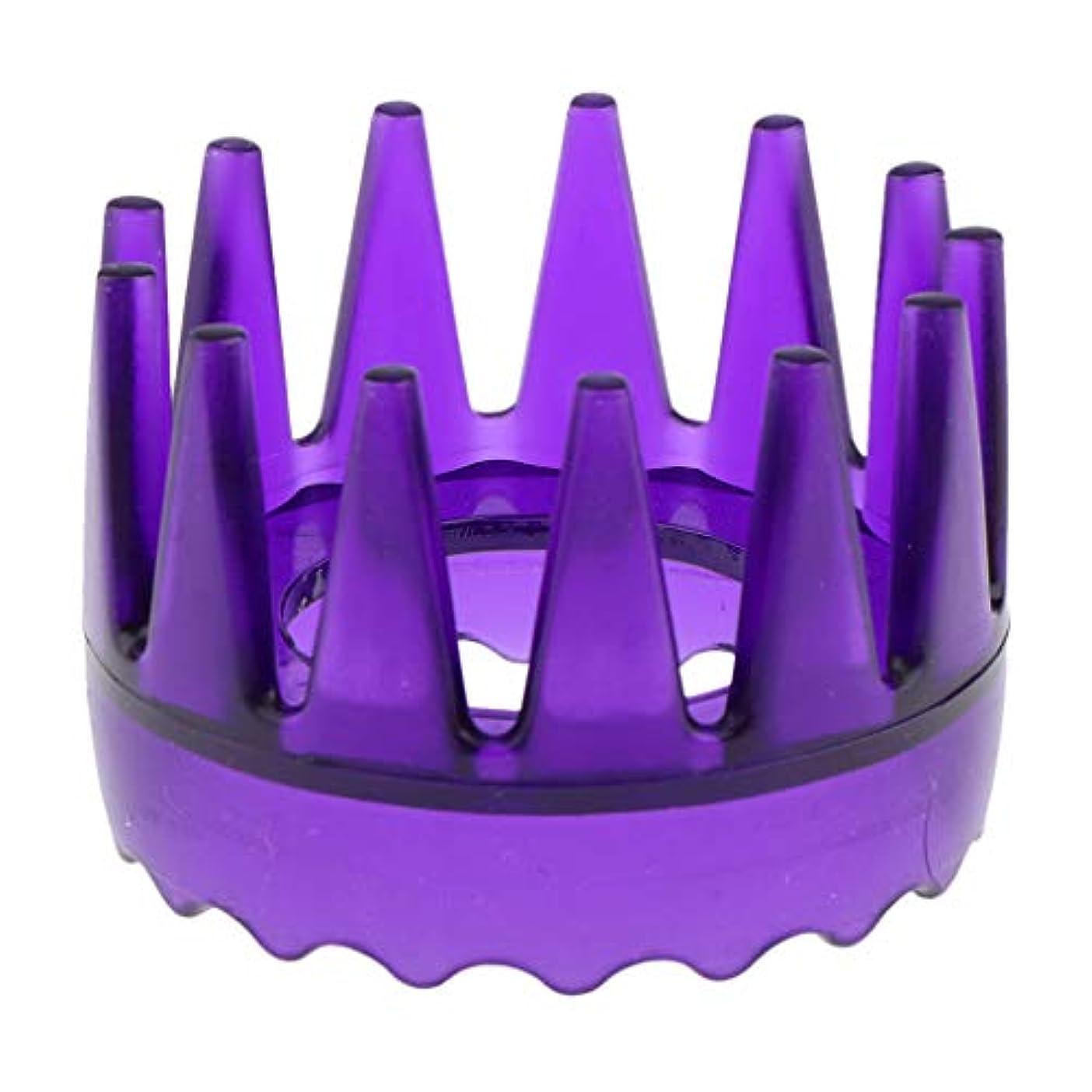 平和いくつかのシティ頭皮マッサージブラシ ヘアブラシ ヘアコーム ヘアケア シャワー 洗髪櫛 滑り止め 全4色 - 紫