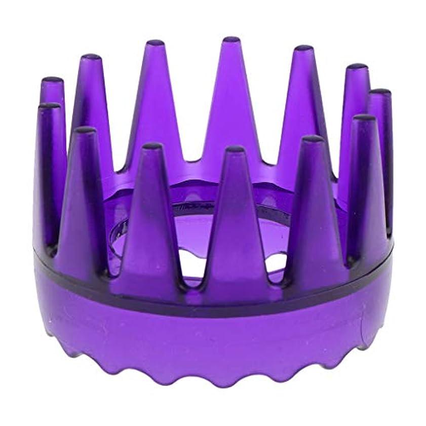 チャンピオンシップ選出する注入する頭皮マッサージブラシ ヘアブラシ ヘアコーム ヘアケア シャワー 洗髪櫛 滑り止め 全4色 - 紫