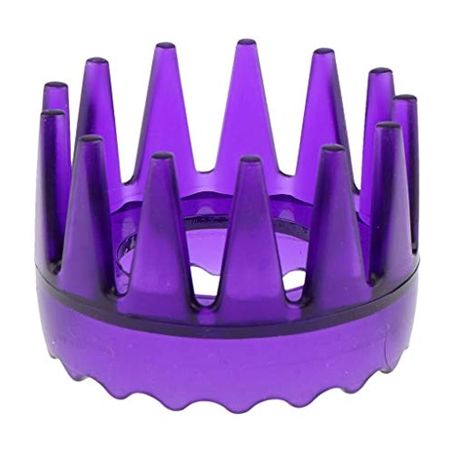 十分ではない引数横向き頭皮マッサージブラシ ヘアブラシ ヘアコーム ヘアケア シャワー 洗髪櫛 滑り止め 全4色 - 紫