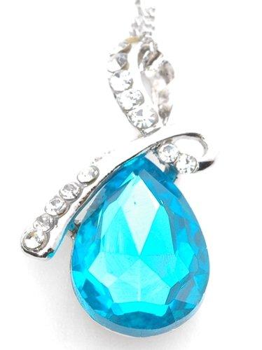 誕生石風 9種類 天使 の 泪 を イメージした ティアドロップ 型 ペンダント 付 ネックレス (ブルートパーズ)
