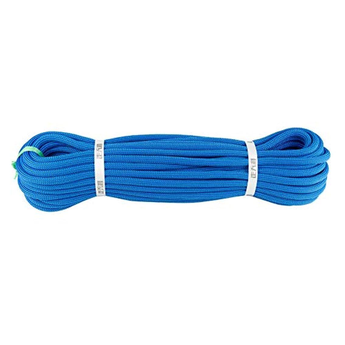 ぺディカブ色合い二層10.5ミリメートルロッククライミングロープ、火災エスケープ安全救助ラペリングロープキャンプケイビング保護電源ロープ耐摩耗性実用ロープ,Blue,80m
