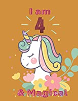 Unicorn SketchBook: I Am 4 & Magical With Unicorn Inside More Space for Sketching and Drawing and Writing Journal for Kids and Girls Marble Size 8.5in x 11in with 110 Pages