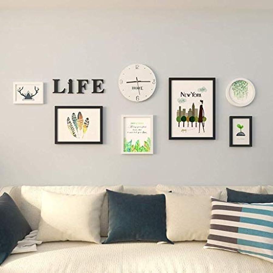 クリック通貨進捗TZZ フレームフォトウォール現代のシンプルなフォトウォールデコレーションリビングルームのベッドルームの写真の壁の組み合わせクリエイティブ誕生日ギフト (色 : A)