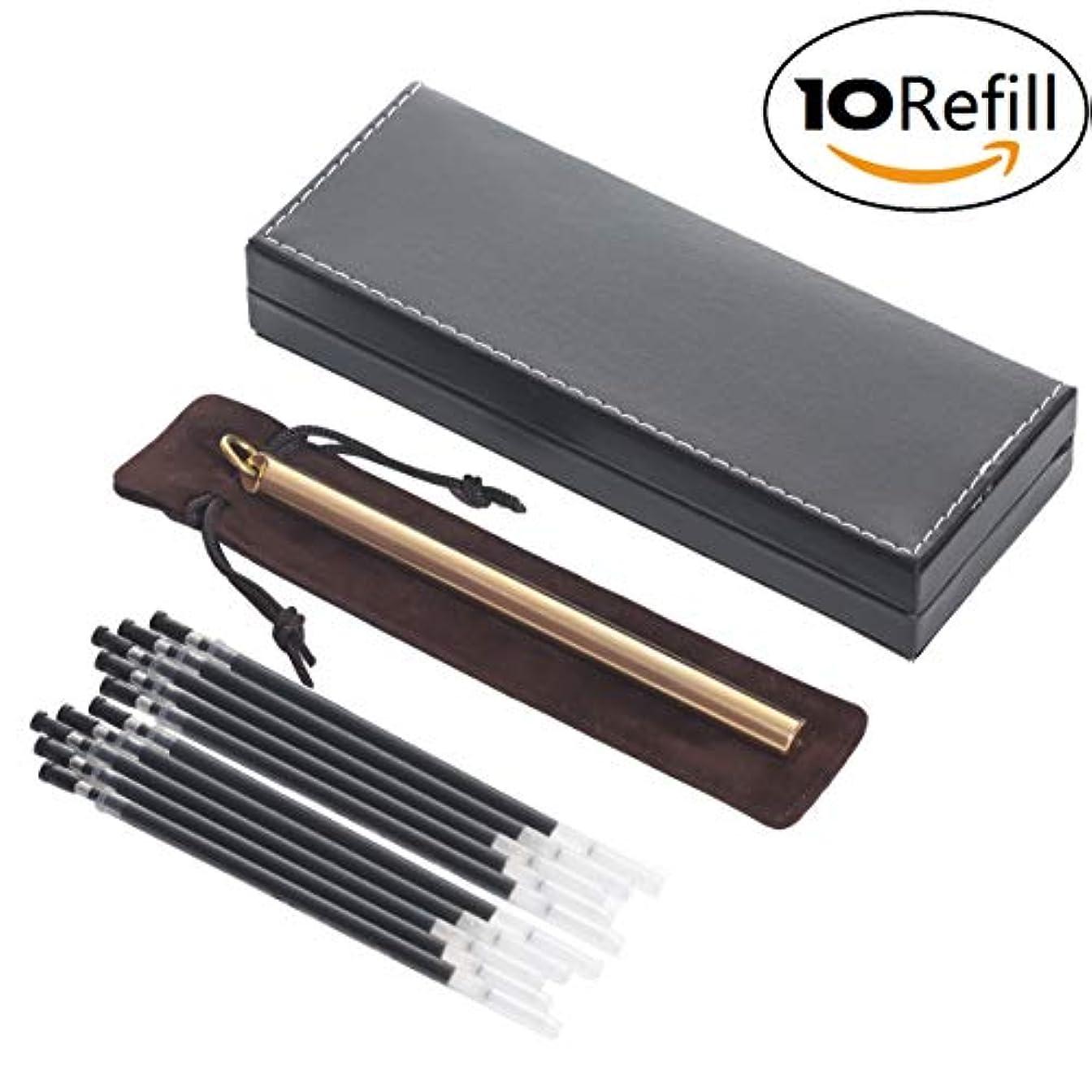 石膏符号克服するCklt真鍮銅リングペンContains 5 RefillハイエンドPUギフトボックスペンArtware Gelペンローラーペン