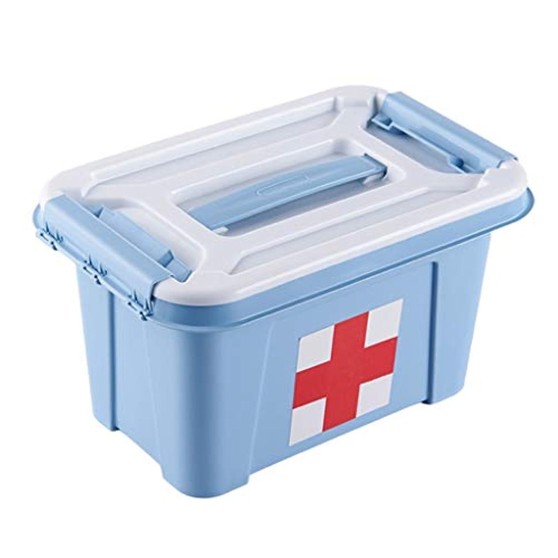 ピルボックスPP 27.5 * 18.5 * 15.5cm家庭用薬ボックス薬収納ボックス (色 : 青)