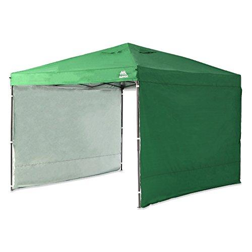 モダンデコ タープテント 3m uvカット加工 スチール製 サイドシート2枚付 収納ケース付 (グリーン)