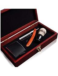 RZ2668ストレートかみそり、理髪師かみそりセット、プロフェッショナルストレートかみそりシェービングキット、男性用シェービング用ハンドメイド