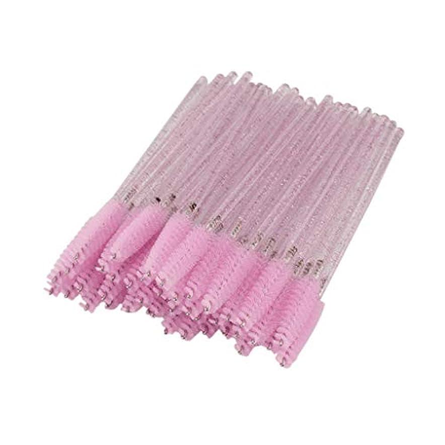 広範囲派生する政治的T TOOYFUL まつげコーム スクリューブラシ 使い捨て まつげブラシ マスカラブラシ 衛生的 便利 約50個 全6色 - ピンク