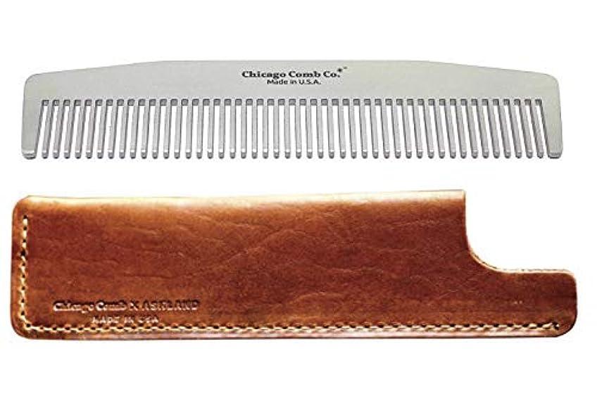 憲法カートン技術者Chicago Comb Model 3 Stainless Steel + Horween Tan Leather Sheath, Made in USA, Ultra-Smooth, Durable, Anti-Static...