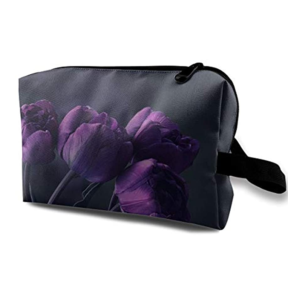 対動くゴムDark Purple Tulip Flower 収納ポーチ 化粧ポーチ 大容量 軽量 耐久性 ハンドル付持ち運び便利。入れ 自宅?出張?旅行?アウトドア撮影などに対応。メンズ レディース トラベルグッズ
