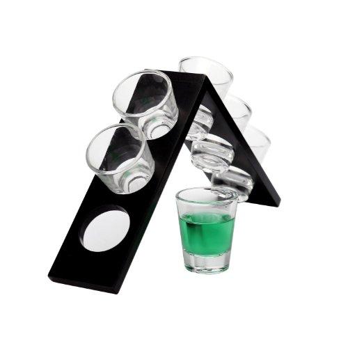 円ガラスエッジ7Piece Setウォッカwith木製スタンド( 6Glasses and 1スタンド)