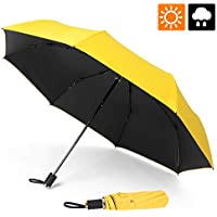 ESEOE Umbrella, Sun Umbrella UV Protection Outdoor Waterproof Umbrella, Compact Folding Umbrella for Travel, Sun & Rain Umbrellas with Black Anti-UV Coating