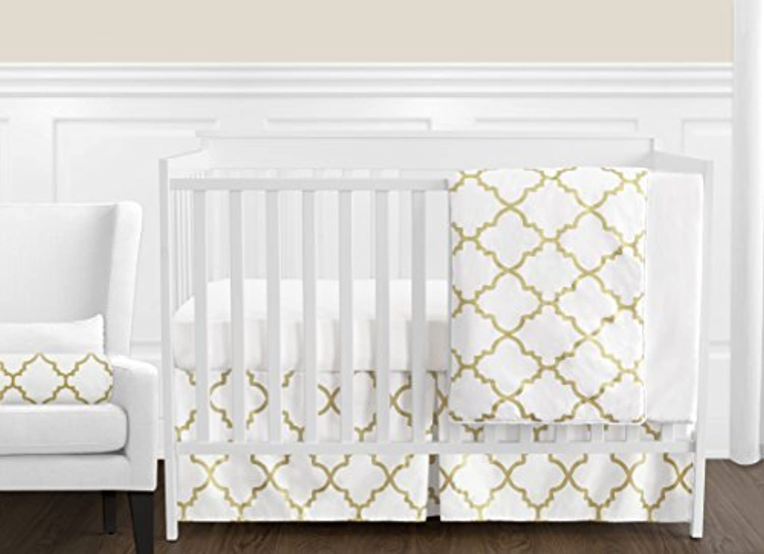 Modern White and Gold Trellis Lattice Girls Baby Bedding 11 Piece Crib Set Without Bumper [並行輸入品]