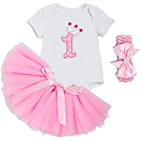 ALLAIBB ベビー服 女の子 半袖 ロンパース チュチュスカート ピンク ヘアバンド 3点セット 誕生日 出産祝い 1歳 L