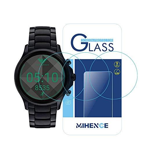 3枚 エンポリオ アルマーニ Emporio Armani Full Diplay Smartwatch 保護フィルム,MIHENCE 9H ガラス保護フィルム 対応 Emporio Armani Touchscreen スマート腕時計 2.5Dラウンドエッジ ウォッチ指紋防止保護膜