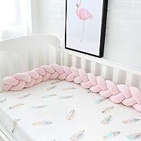 赤ちゃん ベッドレール, 結び目 編組 ぬいぐるみ ベッドガード 装飾 新生児 ゆりかご 枕 クッション ジュニア ベッド 睡眠 バンパー-ピンク L:150cm(59inch)