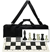 Ultimate Tournament Chess Set with New Silicone Chess Mat, Canvas Bag and Super Triple Weighted Chessmen with 4