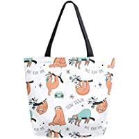 ZZKKO Funny Sloth Canvas Tote Grocery Bag Shoulder Casual Book Bag Large for Women Teachers, Animal Cotton Bag Shopping Purse Handbag Reusable Multipurpose Use