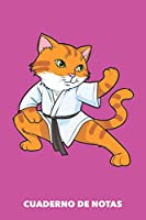 Cuaderno de Notas: Gato Karate A5 pautadas - 120 páginas para dueños de gatos (rosa)