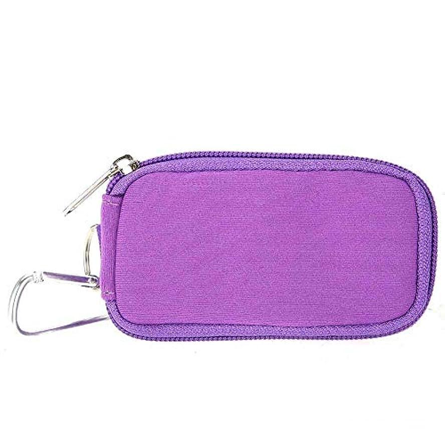 怪物困ったうまローラーボトル用10スロットエッセンシャルオイルバッグ防水ハードシェルバッグオーガナイザーケース、ポータブルローラーミニエッセンシャルオイルボトルは、旅行キャリングストレージバッグを保持します(紫の)