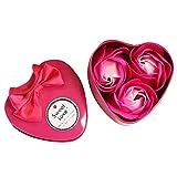 TOPmountain 人工バラの花ケースシミュレーション花ハート型のアイアンボックスバレンタインデーエタニティローズ、3個 - ピンク
