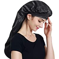 Alnorm Long Satin Bonnet Sleep Cap– Double Layer, Soft Elastic Band