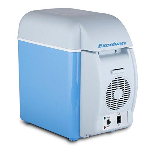 Excelvan BT17ミニ冷温庫 家庭 アウトドア 車載 冷温両用 冷蔵温度:環境温度以下約15℃-25℃ 温蔵温度:60±5℃ 軽量 大容量 小型7.5L(ブルー+ホワイト)