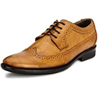Genuine Patent Leather Shoes Mens Dress Shoes Oxford Shoes Men Perforated Classic Brogue Wing-Tip Lace Up(Tan9)