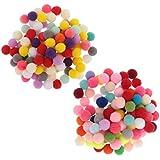 D DOLITY 約200個 ポンポンボール カラフル ふわふわ DIY パーティー装飾 手芸用材料