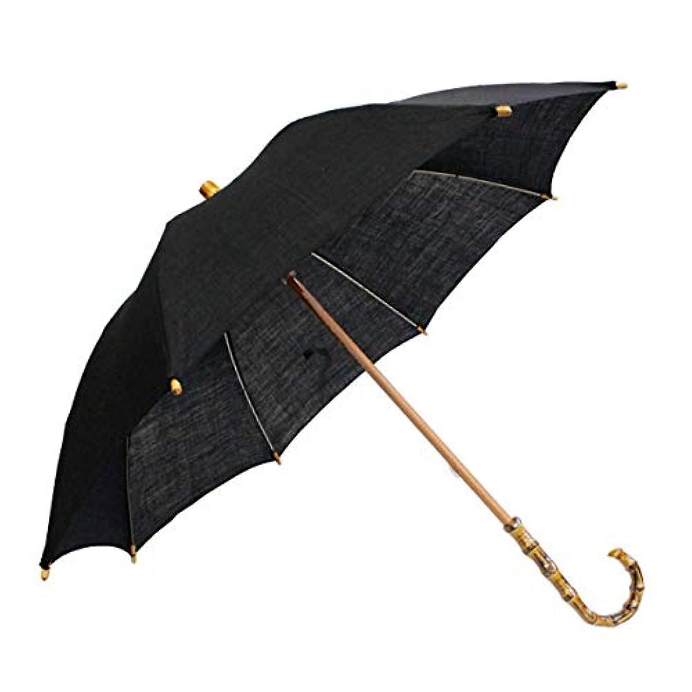 ポップマングル素人縮の日傘 無地 墨 麻素材 UVカット