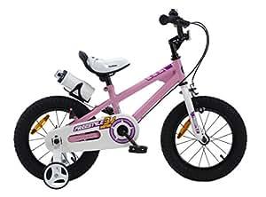 ROYALBABY(ロイヤルベイビー) 12インチ BMXスタイル 子供用自転車 幼児用自転車 キッズバイク フルカバーチェーンケース リアバンドブレーキ 取っ手付きサドル RB-Freestyle (ピンク, 12インチ)