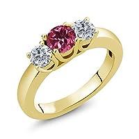 Gem Stone King 1.00カラット 天然 ピンクトルマリン 天然 ダイヤモンド シルバー925 イエローゴールドコーティング 指輪 リング