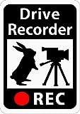 ドライブレコーダー搭載ステッカー 「うさぎとビデオカメラ」 (マグネット) (ホワイト) s21
