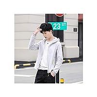 男性と女性のための夏のフード付きの日焼け止め衣類屋外用のマスク超薄型ジャケット韓国語バージョンの緩い通気性のビーチ肌の服,男性グレー,XXXL