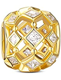TINYSAND純銀 ゴールド 透かしデザイン ジルコニア & シルバー 925 ビーズ チャーム ファッション アクセサリー レディース
