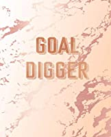 Goal Digger: Inspirational Quote Notebook, Classic Pink Marble and Rose Gold | 7.5 x 9.25, 120 Wide Ruled Pages